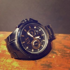 AX stainless steel black and quartz watch